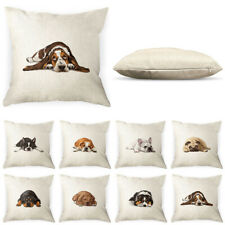 Dog Polyester Linen Square Pillow Case Sofa Cushion Cover with Zipper Closure
