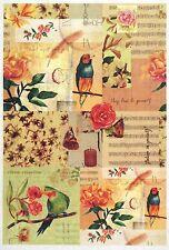 Carta di riso-Uccellino Colorato Fiore 2-Per Decoupage Decopatch Scrapbook Craft