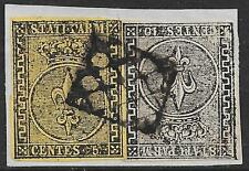 Parma stamps 1852 Sassone 1+2 on fragment Rectangular Mute Grid Cancel