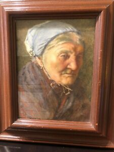 """Old Lady Print by W.Jangley Painting 1900`s 15"""" x13"""" Mahogany Frame"""