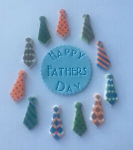 12 Edible Ties Father's Day Dad Cupcake Cake Topper Party Gift Present Plaque