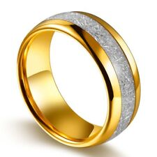 Sz8-13 Yellow Gold Plated Titanium Steel Men's Fashion Ring Wedding Band Ring