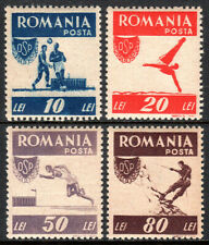 Romania 628-631, Mint. Soccer, Diving, Running, Mountain climbing, 1946