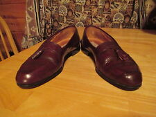 Mens STANLEY BLACKER Made in Italy Dark Brown Leather Tassel Loafer Shoes Sz 9 M