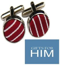 GIFTS FOR MEN Fabric Red White Stripe Shirt Mens Alloy Cufflinks GIFT SET