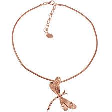 rosa placcato oro pendente ciondolo libellula corti GANCIO Collana girocollo