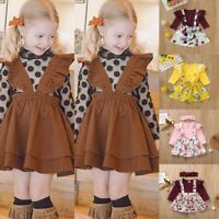 3pcs Toddler Kids Baby Girl Floral Ruffle Tops+Overalls Skirt+Headband Outfits