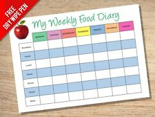 A4 Reusuable Laminated Weekly Food Diary - Diet Slimming Diabetes Family Planner