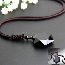 Men Jewelry Black Blessing Obsidian Pendant Necklace Amulet Hexagram Shape