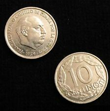 *GUTSE* FRANCO-1114, 10 CÉNTIMOS 1959, ERROR (10b), REV. GIRADO 20º A LA IZQ.