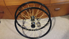 "Pair 24"" Spinergy Spox wheelchair wheels with yellow spokes, tyres and push rims"