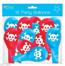 12 PIRATE BALLOONS  skull crossbone party birthday  girls boys kids BLUE RED