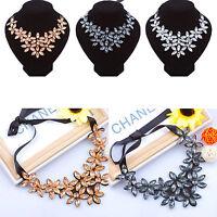 Women Bib Flower Crystal Pendant Statement Chain Chunky Choker Necklace Jewelry