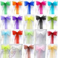 10 25 50 100 Organza Sashes Chair Cover Sash WIDER FULLER BOWS Wedding Party