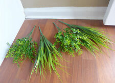 4 Artificial Grass Bush Plastic Plants Home Garden Landscape