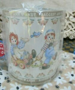 Rare New Raggedy Ann & Andy CAN PEN / PENCIL HOLDER Tin Japan