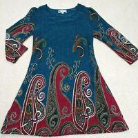 Papillon Paisley Print Pattern 3/4 Sleeve Casual Career Midi Sweater Dress Sz M
