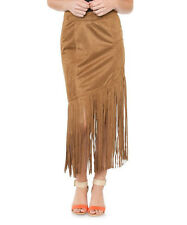 COWGIRL Western Womens TAN Suede VINTAGE Inspire FRINGE SKIRT L XL