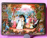 Russian GICLEE Lacquer box COUPLE Lovers WEDDING TRADITIONAL PALEKH UNIQUE GIFT