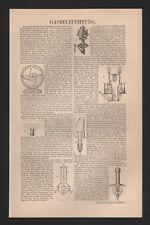 Lithografie 1904: Gasbeleuchtung. Steinkohlen-Leuchtgas. Leucht-Öl-Luft-Gas. Gas