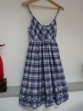 Ladies Lovely Oasis Blue Mix Check Thigh Length Strappy Summer Dress Size 8, Vgc