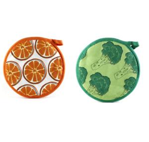 IKEA TORVFLY Topflappen 20 cm Baumwolle Brokkoli Orangen Muster 2er 4er 8er Set
