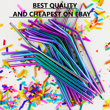 RAINBOW Metal Drinking Straws Steel Drinks Party Straw Cleaner Reusable Bar---..