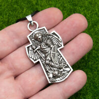 Archangel Patron Saint St Michael Protect Us Cross Shield Pendant Necklace