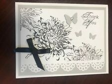 "Stampin Up Card Kit Set Of 4 ""Thank You"" Black Bloom"