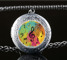 Music note Photo Glass Tibet Silver Chain Locket Pendant Necklace