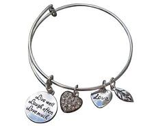 Live Well Love Much Laugh Often Adjustable Wire Bangle Bracelet- Inspirational E