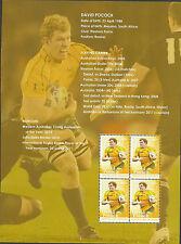 AUSTRALIA 2012 DAVID POCOCK Rugby LEGEND Souvenir Sheet ex Prestige Booklet MNH