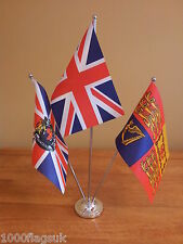 Union Jack UK Royal Standard & Royal Crest Table Desk Flag Set - Satin & Chrome