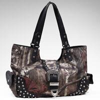 New Women Handbag Camouflage Faux Leather Tote Bag Shoulder Bag Purse Black