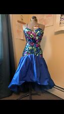 Vintage Blue Sequin Prom Dress 80s Size 5-6
