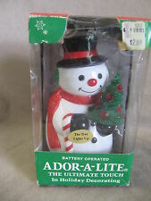 VINTAGE CHRISTMAS ADOR-A-LITE BATTERY OPERATED SNOWMAN BY RADIANT LIGHTS IN BOX
