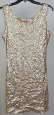 Crystal Doll Juniors Sequin Bodycon Tank Dress. Matte Gold. Medium
