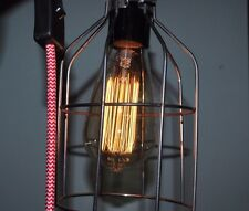 Vintage Industrial Pendant Steel Wire Cage Desk Lamp with E27 Edison Bulb 60W