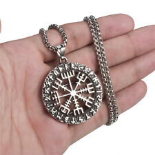 Mens Stainless Steel Viking Valknut Pirate Hollow Compass Pendant Necklace