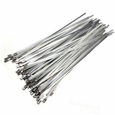 100pcs 300x4.6mm Strong Stainless Steel Metal Self Locking Cable Ties Zip Wraps