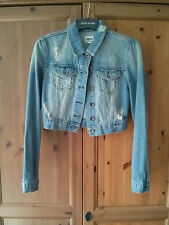ASOS Jean Jacket 10 Denim Cropped Distressed/Ripped Look Blue SOLD OUT! Summer
