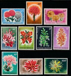 Rwanda   1966   Sc # 151-60   Flowers   VLH   (55249)