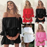 New Women Flare Sleeve Off Shoulder Holiday Dress Ladies Summer Beach Mini Dress