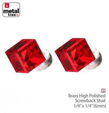 Men's Women's 925 Sterling Silver Crystal 3D Cube Stub Screw Back Earrings RED
