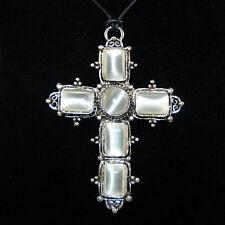 XL Kreuz Antik Silber Cross Katzenauge Rauchweiss Gothic