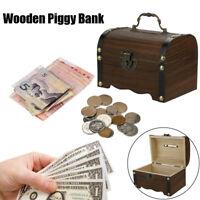 Wooden Piggy Bank Safe Money Box Saving Box Case With Lock Wood Carving Handmade