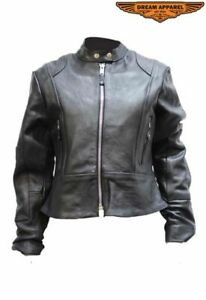 Women's Motorcycle Leather Jacket with Zip Out Lining and Zippered Front Closure