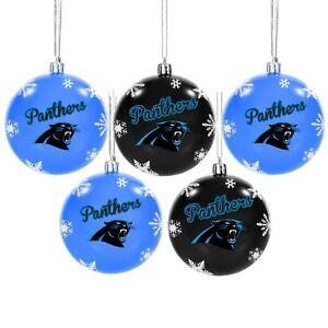 Carolina Panthers Shatterproof BALLS Christmas Tree Holiday Ornaments Set 5 pack