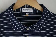 Peter Millar Mens Sz XL Blue Striped Summer Comfort Polo Shirt