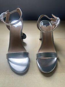 dorothy perkins Wide Fit Silver Shimmer Heel Sandals, Size 6 Uk, New